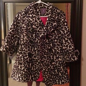Forever 21 S Leopard Print Mid Sleeve Pea Coat